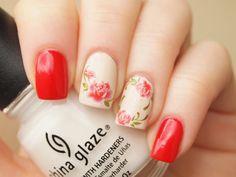 Items similar to 1 sheet of red rose nail art water decals/ floral nail stickers/ Rose nail decals/ Floral nail decoration/ Nail stickers/ art. on Etsy Rose Nail Art, Floral Nail Art, Rose Nails, Flower Nails, Cute Nail Colors, Nail Polish Colors, Red Polish, Flower Nail Designs, Cool Nail Designs
