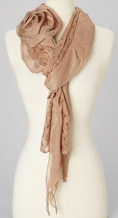 Brown Rosette Linen-Blend Scarf I love this!