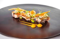 Photo of: Seasame seared mackerel with carrot and star anis purée, shaved fennel salad, atsina cress, Pied à Terre, Central London restaurant