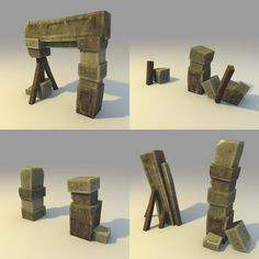 Low poly Broken Stone Gate (MORE variation) by lithium-sound on DeviantArt