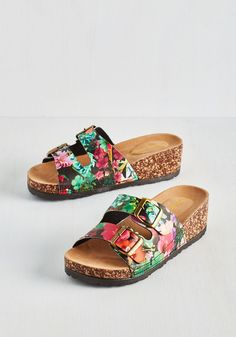 At Your Deck and Call Sandals in Dusk. Slip into these black floral sandals and chill haute on the porch! #multi #modcloth