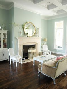 "Sherwin-Williams ""Rainwashed."" Love the walls + dark wood floor."