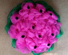 Watermelon deco mesh wreath, green and pink wreath