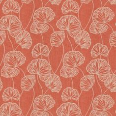 Coral Red Fan Leaf Fabric | Sandy Pond Roseberry | Loom Decor