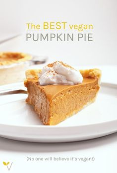 This classic vegan pumpkin pie is so creamy and rich, no one will believe it's vegan. The filling can be made in a blender for a quick and easy fall dessert the whole family will love. via My Darling Vegan Paleo Snack, Healthy Vegan Dessert, Cake Vegan, Vegan Dessert Recipes, Vegan Sweets, Vegan Snacks, Healthy Recipes, Coconut Recipes Vegan, Vegan Pumpkin Pie