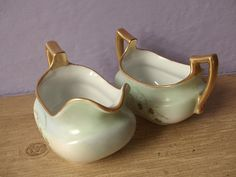 sugar bowl and creamer set antique PSL Austria by ShoponSherman, $59.00