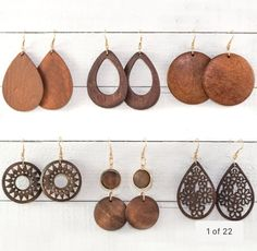 These Wood Earrings are super cute! Made from natural wood, these earrings are full of vintage charm. Available in 15 unique and beautiful styles, these wood earrings are a must have! Wooden Earrings, Wooden Jewelry, Diy Earrings, Leather Earrings, Teardrop Earrings, Leather Jewelry, Fashion Earrings, Handmade Jewelry, Diamond Earrings