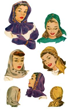 McCall 1358 1940s Pattern Hood Capelet Hat Mittens With Transfers UNCUT