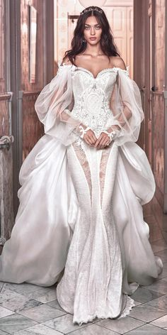 victorian wedding dresses sexy mermaid beaded corset sweetheart with puff sleeves dresses mermaid corset Stunning Wedding Dresses, Used Wedding Dresses, Wedding Dress Styles, Beautiful Gowns, Bridal Dresses, Victorian Wedding Dresses, Couture Wedding Dresses, Tulle Wedding, Mermaid Wedding