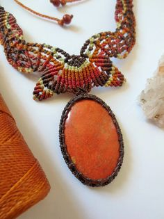 Red Jasper Macrame Necklace handmade with natural jasper gemstone cabochon
