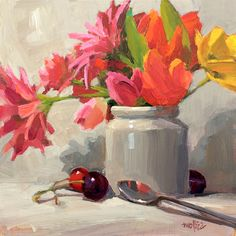 Acrylic Painting Tips, Fruit Painting, Paintings I Love, Colorful Paintings, Fashion Painting, Still Life Art, Whimsical Art, Pantone Color, Cherries