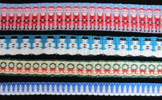 """From the blog Malarky Crafts.  """"Here are some holiday bands that the Weavers' Guild of St. Louis' Long & Skinny study group designed and wove."""""""