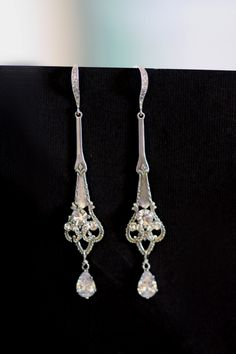 Vintage Bridal Earrings,  Zircone earrings, Crystal earrings, Wedding earrings, Rhinestone earrings, Art Deco, Clear,  (Victoria) by simplychic93 on Etsy