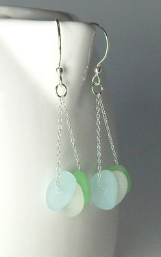 Beach Glass Earrings GENUINE Sea Glass Earrings Sea Foam And Aqua Seaglass #seaglassjewelry #seaglassearringsideas