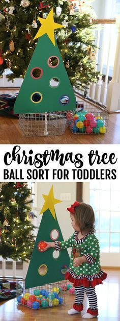 The Christmas Tree Ball Sort for Toddlers is a great way to keep your toddler busy (and away from the big tree) while learning to classify based on color!