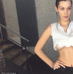 Stylish yet saucy:Bella Hadid isn't afraid of showing the more daring side of her personality, as she proved the previous day when she flashed some serious underboob in a stylish yet saucy selfie