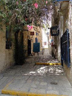 art galleries in an alley in old Jaffa