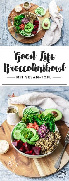 Good Life Broccolinibowl mit crunchy Sesam-Tofu Tofu, Healthy Peanut Butter, Vegan Smoothies, Food Bowl, Recipes From Heaven, Vegan Recipes, Clean Eating, Buddha Bowl, Low Carb