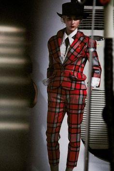 Signature tartan suit at Vivienne Westwood Red Label Tartan Fashion, Punk Fashion, High Fashion, Latex Fashion, Gothic Fashion, London Fashion, Tartan Suit, Tartan Plaid, Tartan Mode