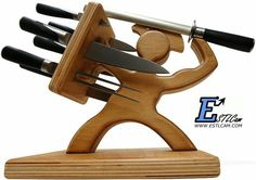 Spartan knife holder-a must for the bachelor pad or grilling area. An epic fighter offering easy access to man's favorite kitchen tools-KNIVES.