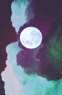 Moon among a scarlet sky