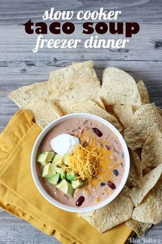 This taco soup recipe has two awesome factors - it's a slow cooker meal AND a freezer meal.
