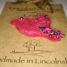 Beaded Bird Brooch Needle felted bird Pink by LincolnshireFenn
