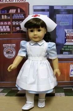 I don't like American Girl dolls at all, but the trouble to make the uniform (I was a student nurse then) is lovely. Sewing Doll Clothes, Sewing Dolls, Girl Doll Clothes, Doll Clothes Patterns, Doll Patterns, Clothing Patterns, Girl Dolls, Sewing Patterns, Barbie Clothes