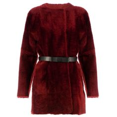 DROME lamb fur reversible coat (3,565 NZD) ❤ liked on Polyvore featuring outerwear, coats, jackets, tops, reversible coat, fur coat, drome coat, reversible fur coat and red fur coat