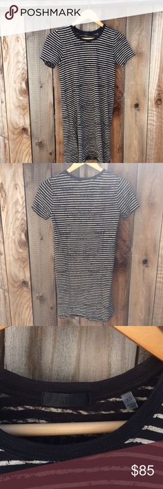 "ATM Striped T-Shirt Dress Beautifully destroyed wash stripe t-shirt dress that can become an instant wardrobe classic building piece for all seasons. Slightly raw edges, ribbed neckline, and is semi-sheer. Hand wash garment made in Peru a soft fine knit made from 100% cotton. Approximate measurements are as follows: length is 32"" and Armpit to Armpit is 15"" and has some stretch to it. ATM Anthony Thomas Melillo Dresses"