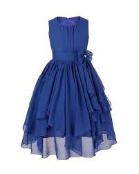 e583eb011d2 FEESHOW Kids Big Girl Asymmetric Chiffon Flower Wedding Bridesmaid Party  Dress Navy Blue 14     For more information