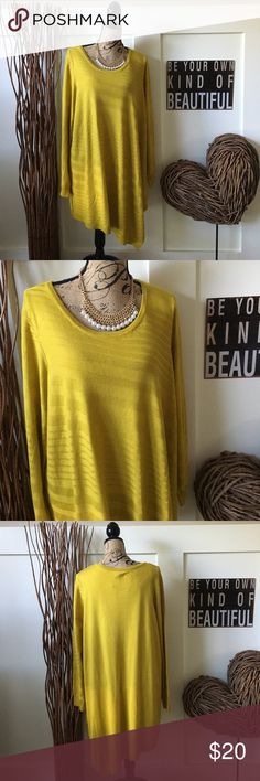 Apt. 9 so soft brilliant gold sweater Apt. 9 brilliant gold diagonal ribbed sweater is flattering with its asymmetrical style. Long and full, very pretty and super soft. Apt.9 Sweaters Crew & Scoop Necks