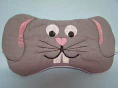 Embroidered Eye Mask for Sleeping, Cute Sleep Mask for Kids or Adults, Sleep Blindfold, Slumber Mask, Bunny Rabbit Design, Handmade by MadeByMeEmbroidery for $8.00