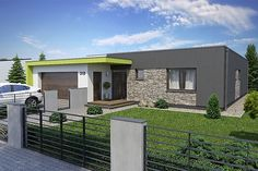 Projekt bungalovu Linear 318 obr.393 Bungalow House Design, Small House Design, Cool House Designs, Modern House Design, 2bhk House Plan, Flat Roof House, Wooden Pallet Furniture, Minimalist Architecture, House Layouts