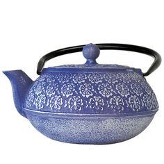 Epoca 40-ounce Japanese Blue Floral Cast Iron Teapot