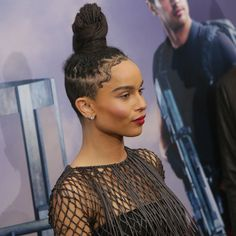 Zoe Kravitz   - 23 Party-Proof Updos That Are Perfect For Holiday Mixers