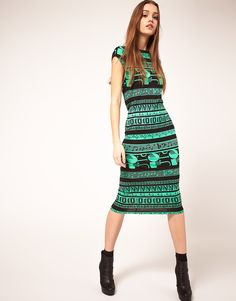 Love the funky print on the dress. It's truly got a mix of a bunch of different styles mixed in there. $54