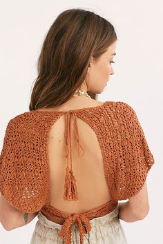 Slide View Frill Edge Crochet Crop Top Boho crochet top featured in a cropped silhouette with a plunging V-neckline. * Front button closures * Wide short sleeves * Open back * Adjustable tie at the back waist and neck Crochet Crop Top, Crochet Blouse, Crochet Bikini, Knit Crochet, Boho Hippie, Crochet Clothes, Diy Clothes, Crochet Outfits, Mode Crochet