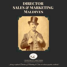 Our client, a stunning island resort in the Maldives is searching for a Director of Sales and Marketing to promote the hotel and achieve excellent sales. The position is island-based and with single accommodation provided, very competitive salary and great benefits. Must have at least 10 years' experience in resort sales, with some experience in the Maldives.   Send your application to Kim or apply online: kim@crawford-carruthers.com    #crawfordcarruthers #dosm #maldives Apply Online, Job Opening, Island Resort, Sales And Marketing, New Job, Maldives, 10 Years, Searching