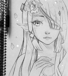 Zelda - wedding+ by larienne artist larienne anime sketch, d Easy Pencil Drawings, Art Drawings Sketches, Cute Drawings, Manga Drawing, Manga Art, Anime Art, Zelda Drawing, Anime Sketch, Art Reference