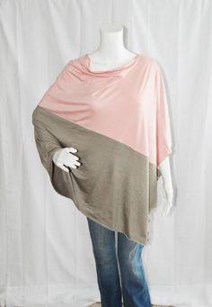 Colorblock  Poncho/ Pink and Tan Nursing Poncho /  Nursing Shawl / Breastfeeding Cover/ One shoulder Top/ Boho Poncho / New Mom Gift