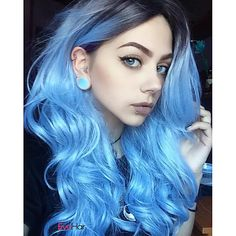 Synthetic Wig Body Wave Style Capless Wig Blue Blue Synthetic Hair Women's Ombre Hair / Dark Roots / Middle Part Blue Wig Long Natural Wigs - Couleur Cheveux 02 Dark Ombre Hair, Ombre Hair Color, Hair Colors, White Ombre, Purple Ombre, Purple Hair, Colours, Gray Hair, Brown Hair