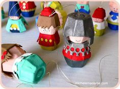 DIY Creative recycling! These cute play figures (ornaments, decorations) are made from egg cartons!