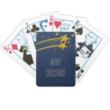 Merry Christmas! Chic Blue Starry Night Golden Stars Bicycle Playing Cards #home #office