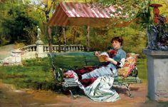 Um bom livro, 1882 Ludovico Marchetti (Itália, 1853-1909) óleo sobre tela