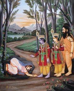 Rama releases Ahalya from her husband's curse Krishna Sudama, Krishna Lila, Shiva Hindu, Hindu Deities, Hindu Art, Hinduism, Hanuman, Jay Shri Ram, Lord Sri Rama