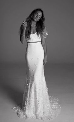 Gorgeous butterfly sleeve two piece wedding dress with glamorous embellishments; Featured Dress: Rime Arodaky