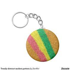 Trendy abstract modern pattern basic round button keychain
