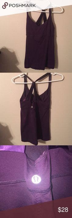 Lululemon Top Beautiful purple Lululemon top with silk straps and built in bra. Only flaw is shown in picture 4. Otherwise in great condition. lululemon athletica Tops Tank Tops