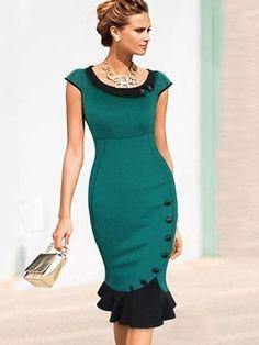 Elegant Mermaid Doll Collar Cotton Assorted Color Bodycon-dress Bodycon Dresses from fashionmia.com